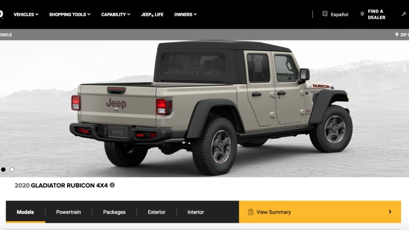 2020 Jeep Gladiator configurator has entered the arena ...
