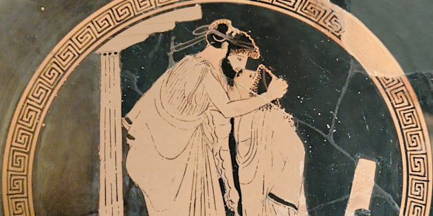 Erastes y Eromenes besándose. Museo del Louvre, 480 aC.