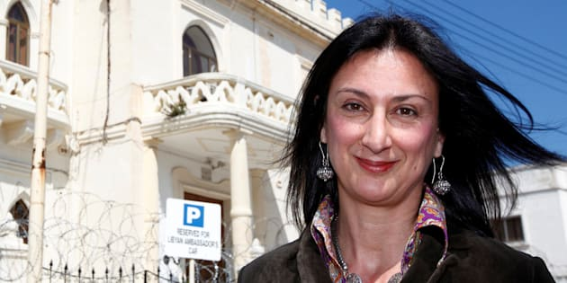 Maltese investigative journalist Daphne Caruana Galizia outside the Libyan Embassy in Valletta.