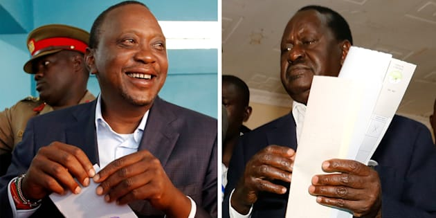 A combination picture shows Kenyan opposition leader Raila Odinga, presidential candidate for the National Super Alliance (NASA) coalition, and incumbent President Uhuru Kenyatta casting their votes during the presidential election: Kenya 8 August 2017.