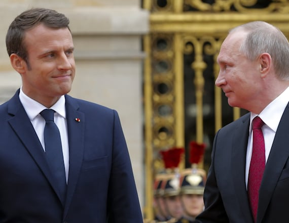 The Putin-Macron handshake is finally here