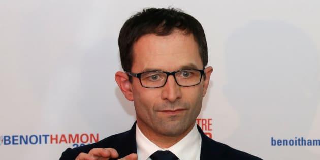 Benoît Hamon en conférence de presse à l'annonce des résultats du premier tour de la primaire de la gauche, le 22 janvier 2017. REUTERS/Jacky Naegelen
