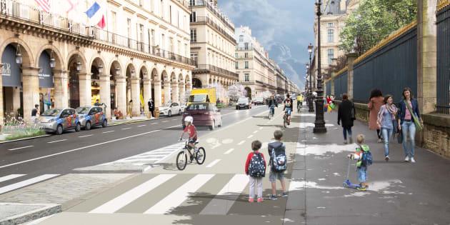 Vue d'architecte de la future rue de Rivoli, artère centrale parisienne, qui devrait basculer à double sens avec une large piste cyclable.