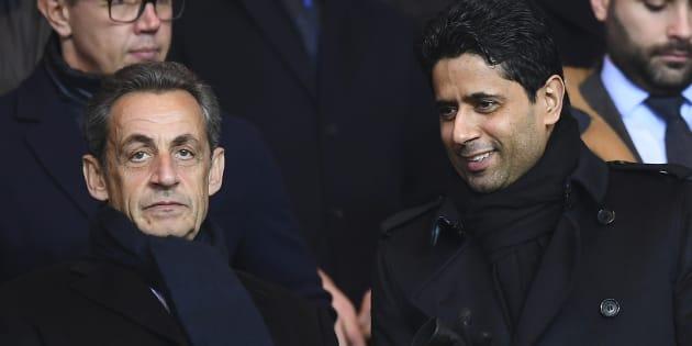 Nicolas Sarkozy et le rpésident du PSG Nasser Al-Khelaifi lors du match PSG-Lille au Parc des Princes le 14 décembre dernier.