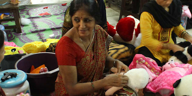 Amita Gupta, who makes the Modi soft toy.