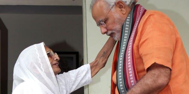 File photo of PM Modi with mother Hiraba.