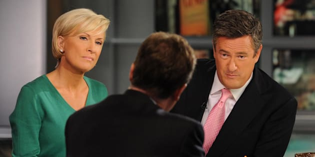 Britain's Deputy Prime Minister Nick Clegg appears on the 'Good Morning Joe' breakfast show on MSNBC in New York with hosts Joe Scraborough (right) and Mika Brzezinski.