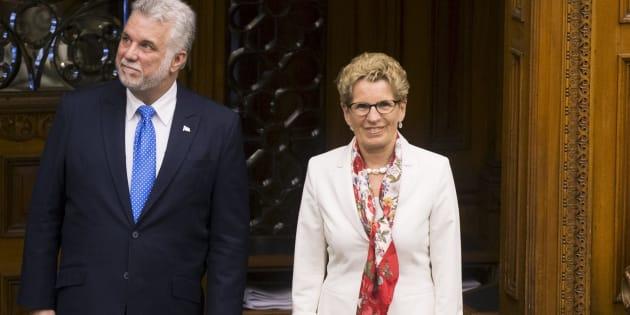 Philippe Couillard et Kathleen Wynne, en mai dernier.