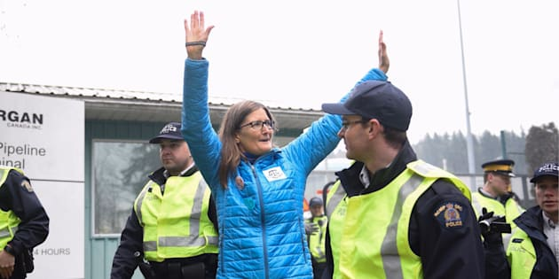 Environmental engineer Romilly Cavanaugh is arrested at a protest against Kinder Morgan's expansion of its Trans Mountain pipeline in Burnaby, B.C. on March 20, 2018.