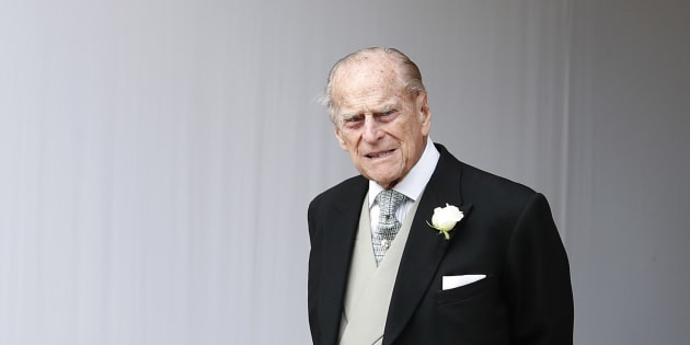 Britain's Prince Philip waits for the bridal procession following the wedding of Princess Eugenie of York and Jack Brooksbank in near London, England on Oct. 12, 2018.