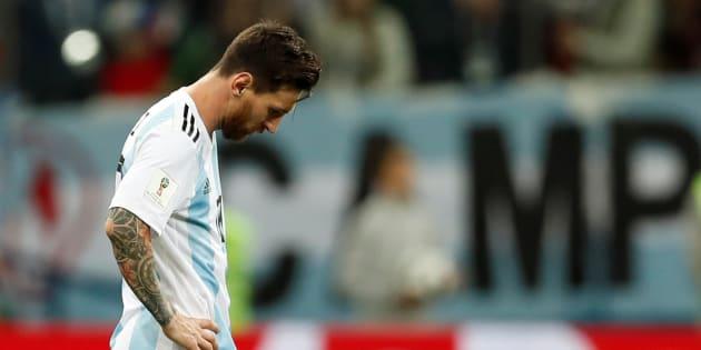 Lionel Messi avait la mine basse après le deuxième but des Croates.