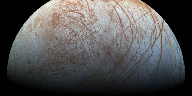 A view of Jupiter's moon Europa created from images taken by NASA's Galileo spacecraft in the late 1990's, according to NASA, obtained by Reuters May 14, 2018.  NASA/JPL-Caltech/SETI Institute/ Handout via REUTERS   ATTENTION EDITORS - THIS IMAGE WAS PROVIDED BY A THIRD PARTY