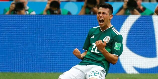 """Hirving Lozano, le """"responsable"""" du séisme détecté au Mexique après son but face à l'Allemagne."""