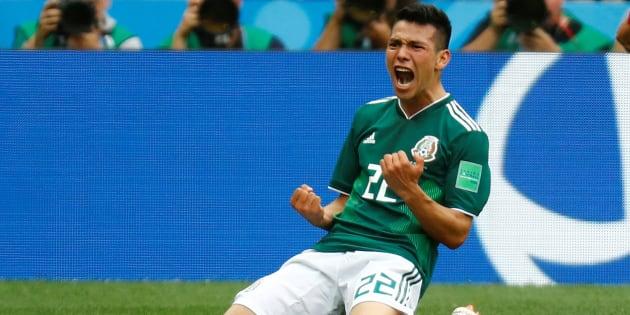 Así festejó Hirving Lozano su primer gol en el Mundial Rusia 2018 durante el partido disputado contra Alemania en el Estadio Luzhniki el pasado 17 de junio.