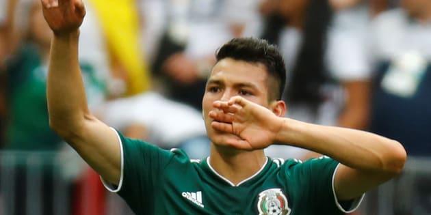 Hirving 'Chucky Lozano' después de festejar su gol frente a la Selección de Alemania en el partido de la primera vuelta de la fase de grupos.