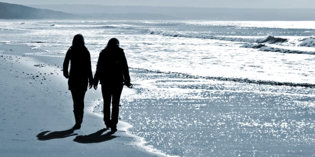 women walking at the beach