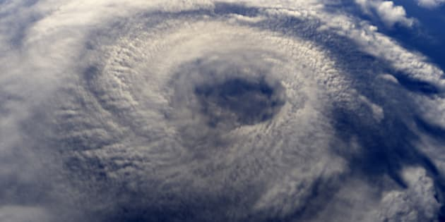 A hurricane on earth viewed from space. This is a rendered image.