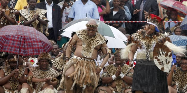 Did he follow the rules? President Jacob Zuma takes part in a dance during his traditional wedding to Tobeka Madiba , his fifth wife, at the village of Nkandla.