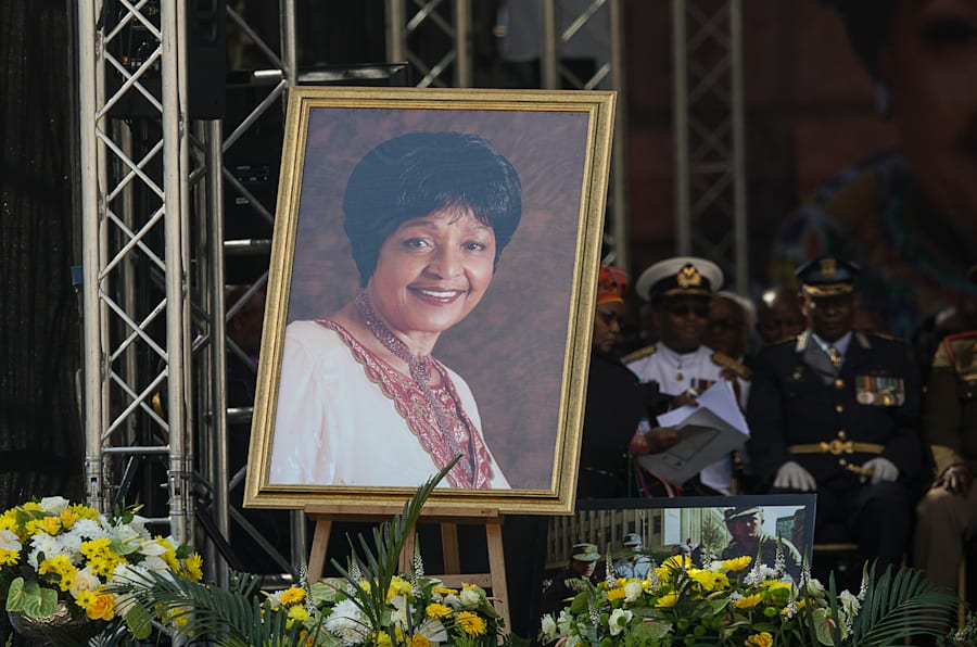 A portrait of anti-apartheid icon Winnie Madikizela-Mandela is displayed on stage during her funeral at the Orlando Stadium in the township of Soweto, concluding 10 days of national mourning on April 14, 2018, in Johannesburg.