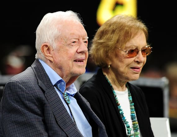 Jimmy Carter smooches wife Rosalynn on the kiss cam