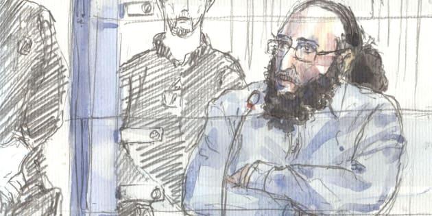 Un dessin représentant Abdelkader Merah au Palais de Justice de Paris, le 20 octobre.