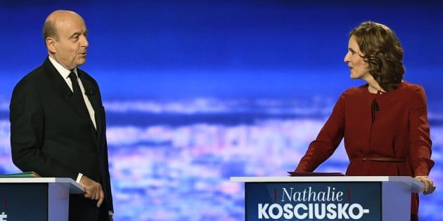 Alain Juppé et Nathalie Kosciusko-Morizet lors du premier débat télévisé de la primaire