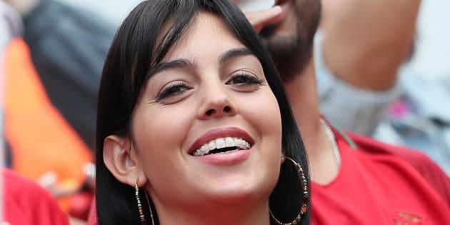 Georgina Rodriguez, en el partido Portugal-Marruecos del Mundial de Rusia el 20 de junio de 2018 en Moscú.