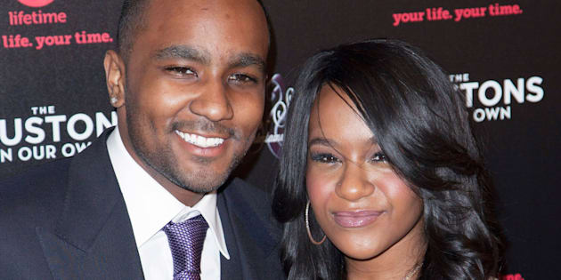 "Nick Gordon (L) and Bobbi Kristina Brown attend the opening night of ""The Houstons: On Our Own"" in New York October 22, 2012. REUTERS/Andrew Kelly (UNITED STATES - Tags: ENTERTAINMENT)"