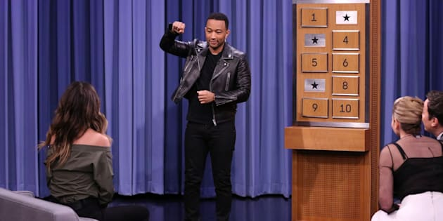 THE TONIGHT SHOW STARRING JIMMY FALLON -- Episode 0583 -- Pictured: (l-r) Model Chrissy Teigen, musician John Legend, Comedian Chelsea Handler, and host Jimmy Fallon play Charades on December 02, 2016 -- (Photo by: Andrew Lipovsky/NBC/NBCU Photo Bank via Getty Images)