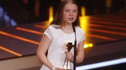 Greta (senza trecce) alla serata di gala di Berlino punzecchia i personaggi dello