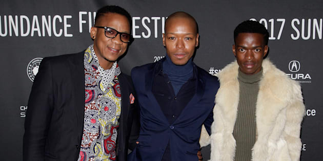 "Actors Bongile Mantsai, Nakhane Toure and Niza Jay Ncoyini at the Sundance Film Festival premiere of ""Inxeba"""
