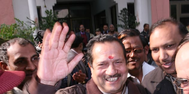 File photo of Rashtriya Swayamsevak Sangh (RSS) leader Indresh Kumar greeted by his supporters.