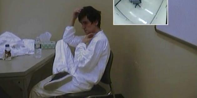 Photo d'archives de l'interrogatoire d'Alexandre Bissonnette.