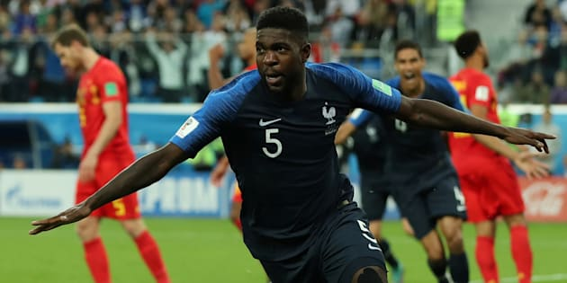Soccer Football - World Cup - Semi Final - France v Belgium - Saint Petersburg Stadium, Saint Petersburg, Russia - July 10, 2018  France's Samuel Umtiti celebrates scoring their first goal   REUTERS/Lee Smith