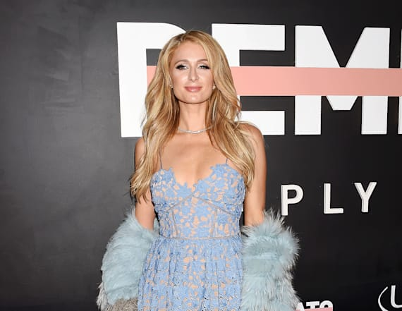 Paris Hilton looks gorgeous in blue lace look