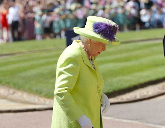 The queen shines bright in green at royal wedding