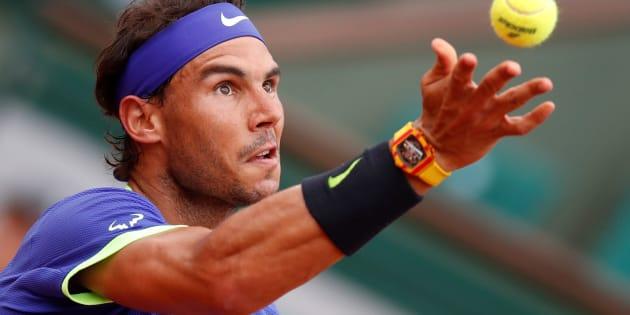 Nadal vient de signer sa victoire la plus écrasante de Roland-Garros (Photo: Rafael Nadal lors du 3ème set face au Géoorgien Nikoloz Basilashvili  à Roland-Garros le 2 juin 2017.)