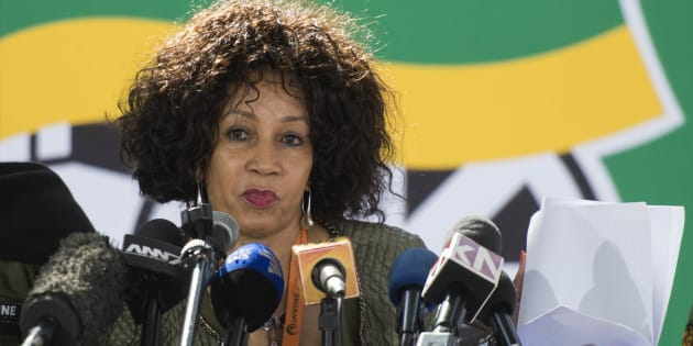 Housing Minister Lindiwe Sisulu addresses the media during the ANC's 5th national policy conference in July 2017.