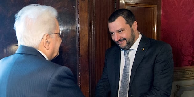 Italian President Sergio Mattarella welcomes League party leader Matteo Salvini at the Quirinale palace in Rome, Italy, April 5, 2018.  Italian Presidential Press Office/Handout via REUTERS ATTENTION EDITORS - THIS IMAGE WAS PROVIDED BY A THIRD PARTY.