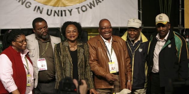 The newly elected top six-members of the ANC (L-R) Deputy Secretary General Thandie Modise, Secretary General Gwede Mantashe, Chairperson Baleka Mbethe, President Jacob Zuma, Deputy President Kgalema Motlanthe and Treasurer General Matthews Phosa.