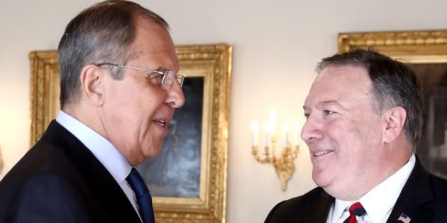 Sergei Lavrov y Mike Pompeo, el pasado julio durante un encuentro en Helsinki (Finlandia):