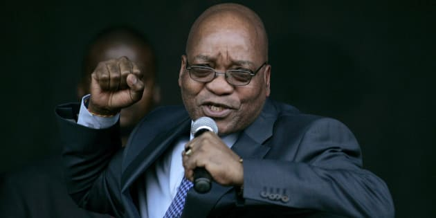 Jacob Zuma sings for his supporters at the Pietermaritzburg High Court on August 4, 2008. Zuma appeared in court to push for the dismissal of a corruption case that could have stopped him becoming president.