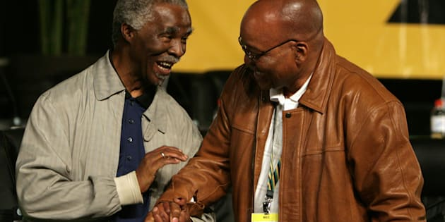 Former ANC president Thabo Mbeki (L) congratulates newly elected ANC president Jacob Zuma during a leadership conference in Polokwane December 18,2007.