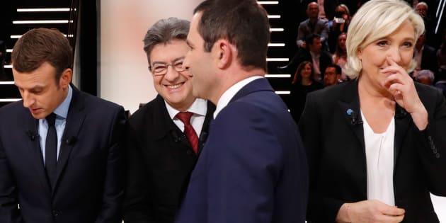 Emmanuel Macron, Jean-Luc Mélenchon, Benoît Hamon et Marine Le Pen lors du débat du premier tour.