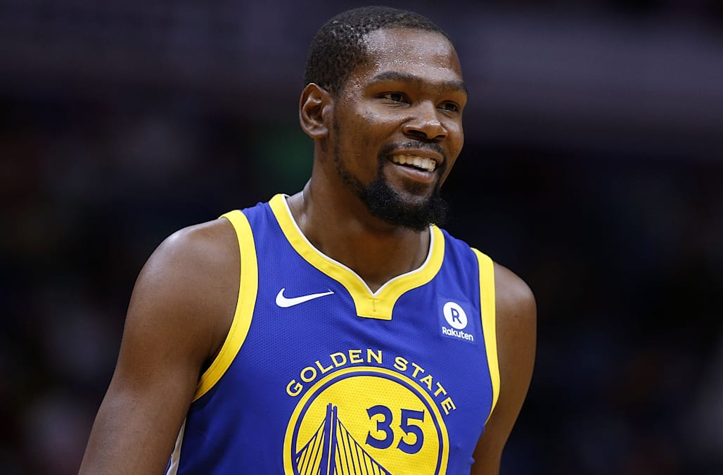 online store 75483 ab386 Kevin Durant kisses fan on forehead after ball hits her in ...