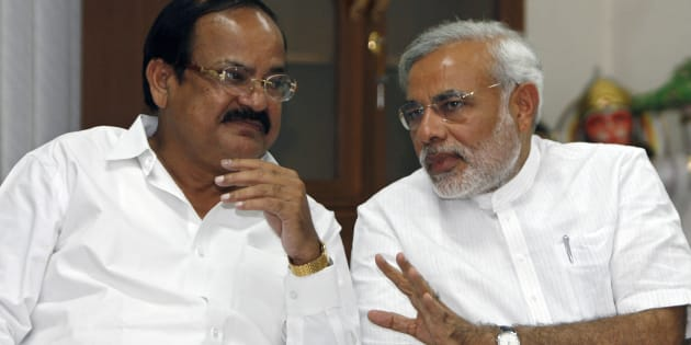 Venkaiah Naidu (L) with Narendra Modi.