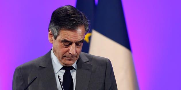 Francois Fillon, en meeting le 9 février à Poitiers.