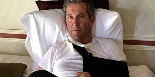 Manitoba Premier Brian Pallister recovers in a hotel in New Mexico in a handout photo provided by the Manitoba government. A government statement says the premier was hiking in the Gila Wilderness when he had a serious fall.