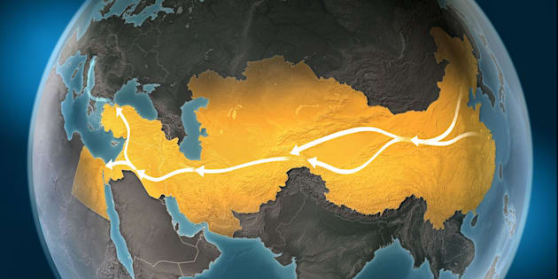 Map of Silk Road, a network of overland routes that connected China to Middle East and Europe through Central Asia. The road network was used in the past centuries by merchants trading goods and silk between distant countries and cross-continental regions. Marco Polo, an italian explorer, is believed to have travelled the route in the 13th century. Geopolitics, commerce and diplomacy connected to history and geography. Map is blank, without country names. Map is for illustration puroposes only, country grouping and current borders status may differ.