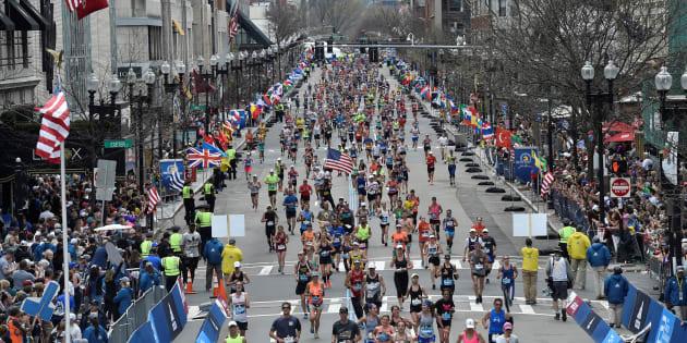 A l'arrivée du marathon de Boston le 17 avril 2017.